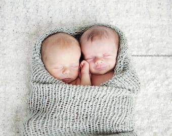Hand Knit Baby Cocoon/ Bamboo/ Photo prop/ Swaddler/NeeMu/Pod/Infinity blanket/Newborn