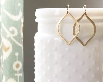 AYLA | Gold Marquise Earrings | Gold Boho Earrings | Gold Statement Earrings | Brushed Gold Moroccan Earrings | Gold Bohemian Earrings