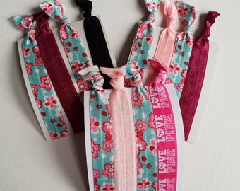 Mixed hair tie elastics - 3 sets of 4 large- blue & pink mix - cherry blossoms, glitter