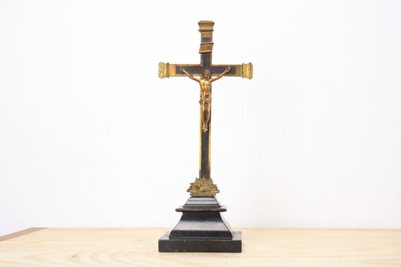Antique - Altar Crucifix - 18000's - Brass Cross / Corpus / Scroll / Lamb of God - Ebony Inlay - Mahogany Base - Catholic - Christian