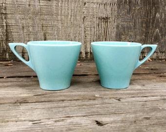 Pair of Vintage Turquoise Contour Melmac Cups