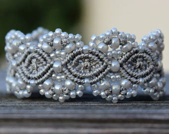 Micro-Macrame Cuff Bracelet. Modern Macrame. Gray and Silver Bracelet. Silver Beaded Cuff. Statement Jewelry. Boutique Fashion Piece.