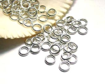 50/100 Silver Plated Jump Rings 6mm, Closed Loop - 7-12