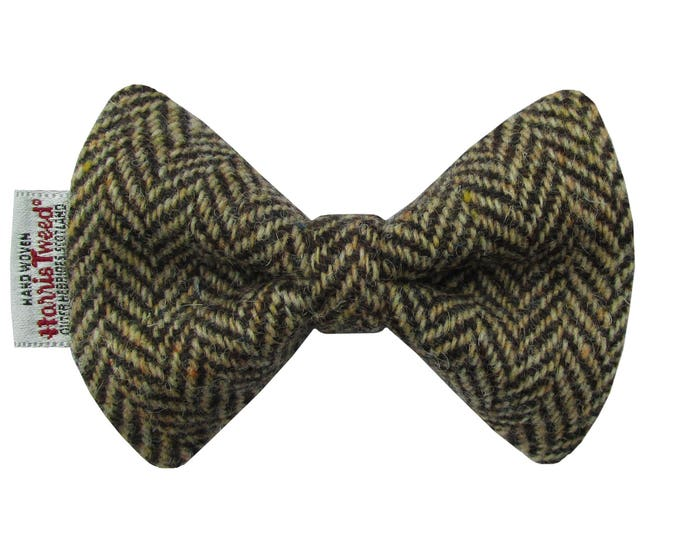 Harris Tweed Brown & Golden Beige Herringbone Designer Dog Bow Tie