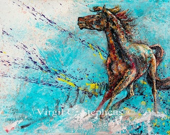 "Horse art, entitled Fury, 12""x16""x2"" original painting on gallery wrap canvas, horse painting, horse running art, equine artwork"