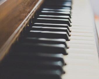 piano photograph, old piano ivory keys musical instrument print nostalgic still life piano large wall music room living room art