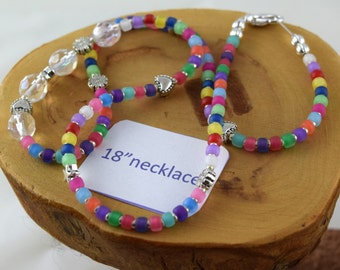 18 inch Jelly Bean multicolor Czech crystal and seed bead choker necklace
