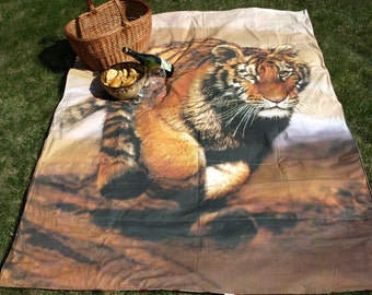 Picnic blanket Tiger Digital photo print Waterproof  XL picnic blanket and BAG , outside beach summer cotton picnic blanket, Eco GIFT