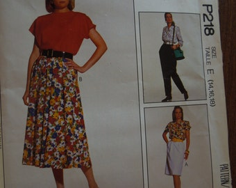 McCalls P218, sizes 14-18, skirts and pants, UNCUT sewing pattern, craft supplies, misses, womens