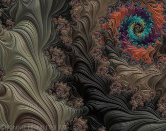 Into the Deep Woods fractal art print, fine art prints for home, dorm, or office - warm hues - coral brown turquoise taupe