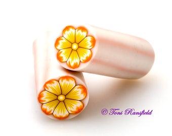 Orange and Yellow Flower Polymer Clay Cane, Raw polymer Clay Cane, Millefiori Polymer Clay