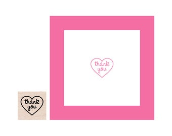 Mini Thank You Heart Rubber Stamp