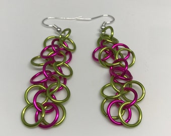 Pink and Green Shaggy Loops Chainmaille  Dangle Earrings