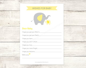 wishes for baby shower printable DIY elephants yellow grey cute baby gender neutral digital shower games - INSTANT DOWNLOAD