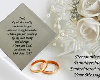 Personalised Mens Handkerchief Hankie Wedding Gift Dad Favourite Walk Gents Father of the Bride ANY MESSAGE