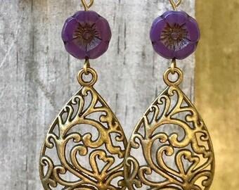 Victorian Earrings, Bronze Earrings, Purple Earrings, Flower Earrings, Scroll Earrings, Filigree Earrings, Statement Earrings, Handmade