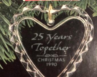 MAYniaSALE Vintage, Dated 1990, 25 Years Together, Christmas 1990, Hallmark Keepsake Ornament