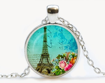 Teal Paris Collage Glass pendant. Vintage Eiffel Tower Necklace. Paris jewelry. Birthday gift