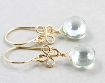 Green Amethyst Dangle Earrings, Mint Green Drop Earrings, February Birthstone Jewelry