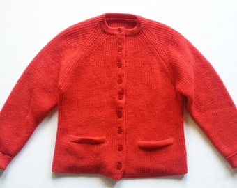1950s Red Wool Ribbed Cardigan S