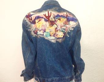 Vintage Denim Jacket / Retro Denim Jacket / 80s Denim Jacket / 1980s Denim Jacket / Jean Jacket / Vintage Jacket / Large Jacket