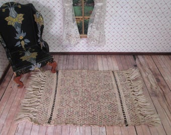 "Vintage Tynietoy Dollhouse Furniture -  Woven Cotton Rug - 8"" by 4 1/2"""