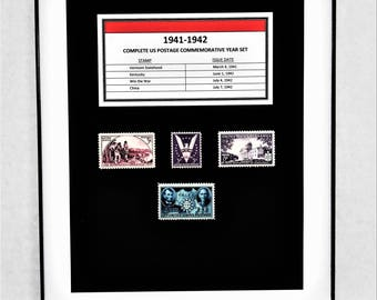 1941-42 Complete US Postage Commemorative Year Set - Birth Year Gift - Postage Art