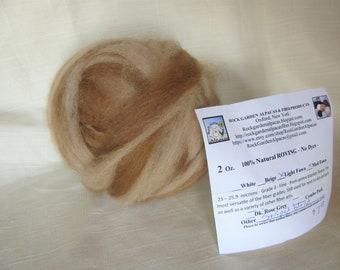 2 oz. Alpaca Light Fawn/Medium Fawn Striped Roving - for Spinning, Nuno Felting or Needlefelting