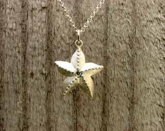 Starfish ~ Solid 925 Sterling ~ Silver Pendant with Diamond