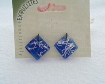 Pair of Dichroic Glass Square Charms, 22 mm x 22 mm x 4 mm (2118)