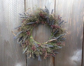 Lavender & Mauve Baby's Breath Wreath, Natural Dried Flower Wreath - Spring Flag - Lavender and Baby's Breath