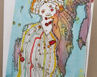 Woman Who Turned Into A Tree, The Odd Sisters, Greeting Cards, Art Cards, Whimsical Art, Watercolors, Pen And Ink