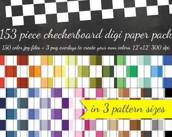 80% OFF SALE Checkerboard Digital Scrapbook Paper - 3 Pattern Sizes 50 Colors Each & 3 Checkerboard Overlays - Digital Scrapbooking Paper