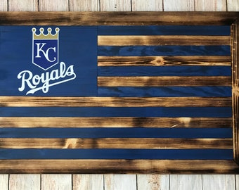 Kansas City Royals wooden flag wall hanging - customizable