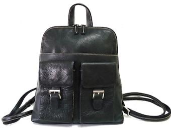 Vintage Black Backpack Leather Organizer Hobo Satchel Travel Backpack
