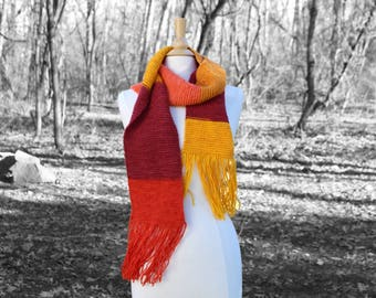 Knit wizard scarf, Red and yellow knit scarf, Wool scarf with fringe, Winter scarf, Women accessories, Gift for her, mothers day gift