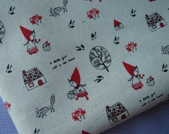 Japanese cotton linen blended fabric - Little Red Riding Hood, Wolf, Tree and house (Beige Background)  - 18in x 28in