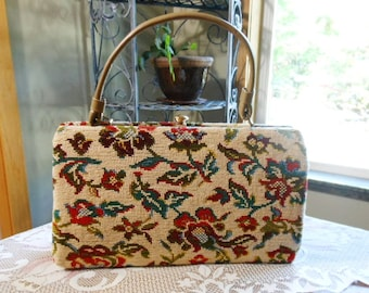 Vintage 50s 60s Beautiful Crewel Needlework Embroidery Handbag Purse