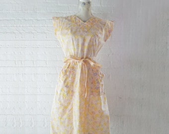 1950s Swirl Wrap Dress 50s Vintage Yellow Pink Floral Dress Cotton Work Wear Pastel Medium Sundress Shabby Chic Cottage Garden Party Dress