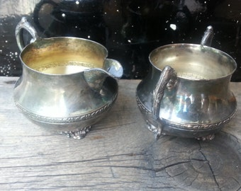 Wm. A. Rogers VINTAGE electroplated silver creamer and sugar, numbered #42, #2336