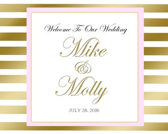 20 Wedding Welcome Bag labels. Gold Stripe with Blush Pink Accents for wedding favors, hotel guests hospitality bags, goody bags