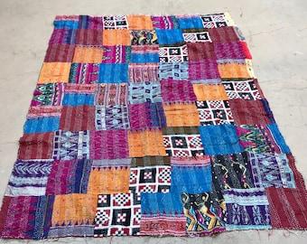 Silk kantha patchwork throw
