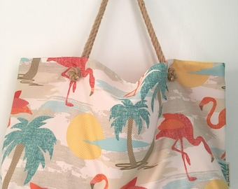 Flamingo Beach Bag with Palm Tree and Sunset pattern| Travel Bag| Mom Bag| Beach Essential |Oversized Tote| Family Bag