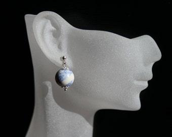 Light blue drop earrings Stud sterling silver Blue stone earrings Simple drop earrings Sterling silver studs Blue stone drops Blue earrings