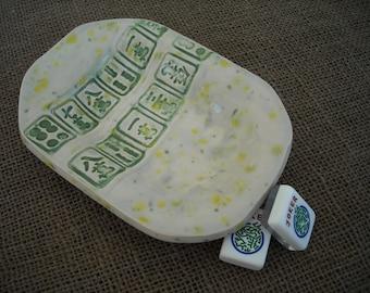 Mahjong Bowl - Mahjong Snack Plate - Oriental Dish - Mahjong Dish  - Mahjong Gift - Green Mahjong Bowl - Mahjong Decor - Mahjong Pottery