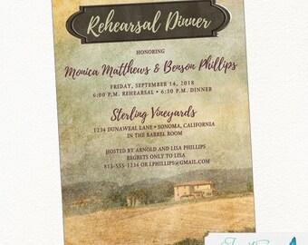 Winery Rehearsal Dinner Invitation, Farm Rehearsal Dinner Invitation, Country Rehearsal Dinner, Rustic Rehearsal Dinner, Vineyard Wedding