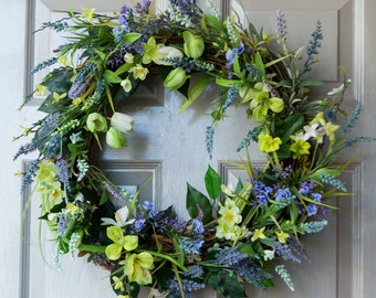 Spring Wreath, Lavender and Lime