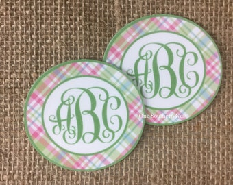 Personalized Sticker set for Easter bucket, basket, pail, toy box, bin, notebook, etc for a girl.  Free Shipping available.  Spring Plaid