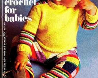 Vintage 70's Knit Baby Pants & Sweater - PDF Pattern - Baby Knit Pattern - Digital Pattern