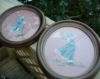 Pair of Vintage Framed Needlepoint